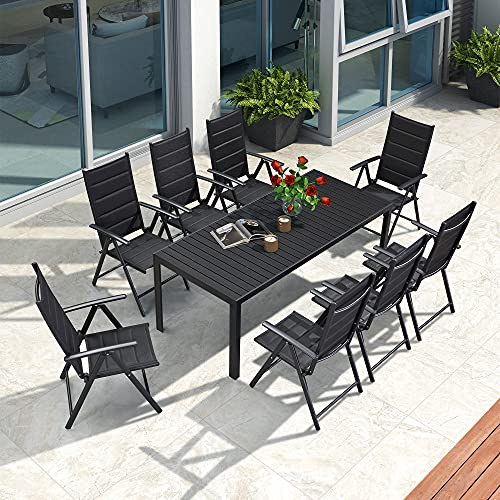 dining set with foldable chairs PURPLE LEAF 9 Pieces Outdoor Patio Dining Set with 8 Folding Portable Chairs and 1 Rectangle Wood-plastic(WPC) Table, Foldable Adjustable High Back Reclining Chairs with Soft Cotton-Padded Seat, Black