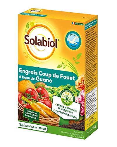 Solabiol SOGUA750N SOGUA750N-Engrais Coup De Fouet à Base de Guano-Stimule Le Démarage de la Végétation, Jaune