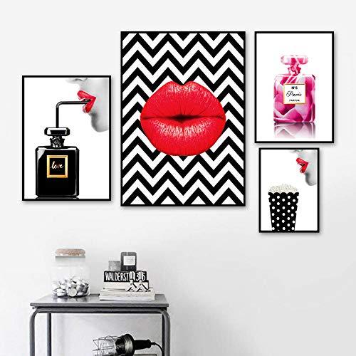 YWOHP Arte Moderno Perfume Chica Labios Carteles e Impresiones Arte Mural Lienzo Pintura Decoración Imagen Sala de Estar Dormitorio Decoración-30x40cm Sin Marco