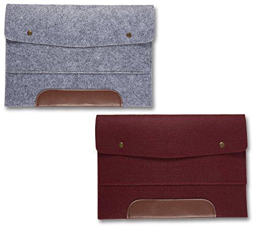Filzmappe für bis zu 33 cm (13 Zoll) Laptops oder A4-Dokumente– Akzente mit braunem Kunstleder in Grau und Burgunderrot, 2er-Pack