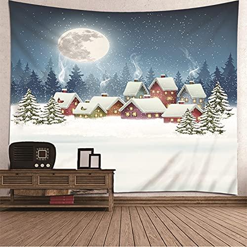 KnBoB Tapiz Pared Decorativo Casa Árbol de Navidad Luna 200 x 200 CM Tapiz Poliéster Anti Arruga Decoracion Habitacion