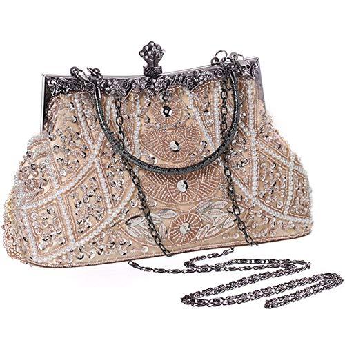 Coucoland Perlen Clutch Damen 1920s Handtasche Abend Party Geldbeutel Elegante Abschlussball Handtaschen Hochzeit Braut Zubehör (Beige)