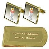 Select Gifts Sode uovo Colazione Gold-tone gemelli denaro inciso Clip Set regalo