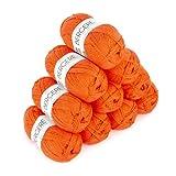 BERGÈRE DE FRANCE - CALINOU, Lote de 10 lana para tejer a crochet (10 x 50 g) 3 mm - Hilo 25% lana merino - Suave, fina y ligera, ideal Baby - Naranja (POTIRON)