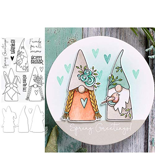 Spring Gnomes Metal Cutting Dies and Stamps Scrapbooking Cut for DIY Paper Card Making Craft,Dies