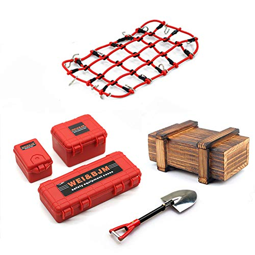 KEEDA 6Pcs/Set Mini Luggage Case, Wooden Box, Shovel, Luggage Net, Simulation Decoration Tool Accessories for 1:10 RC Crawler Car Traxxas Trx4 Axial Scx10 90046 CC01 D90 D110 (Red)