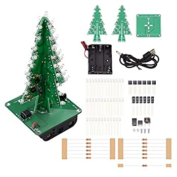IS ICStation DIY Soldering Practice 3D Christmas Tree Electronic Assemble Kit Circuit Solder STEM Project for Student Teens 7 Colors
