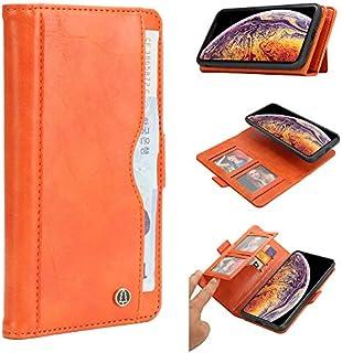 iPhone Xs Max シェル, Happon iPhone Xs Max レザー 財布 シェル 本 設計 ?と フリップ カバー 且つ 立つ [クレジット カード スロット] カバー シェル の iPhone Xs Max-Orange