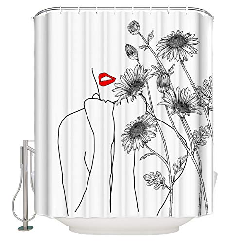 Bathroom Waterproof Shower Curtain Red Lips Outline Line Sketch Women Blossom Daisy Art Printed 66 x 72 in Fabric Modern Bath Curtain Set with 12 Hooks