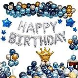 Ponmoo Bleu Decoration Anniversaire Ballon pour Femme Homme Gargon 112pcs Ballons Aanniversaire Guirlande Ballon Joyeux Anniversaire Kit, Birthday Deco Ballons Fête Décoration Adulte Enfant