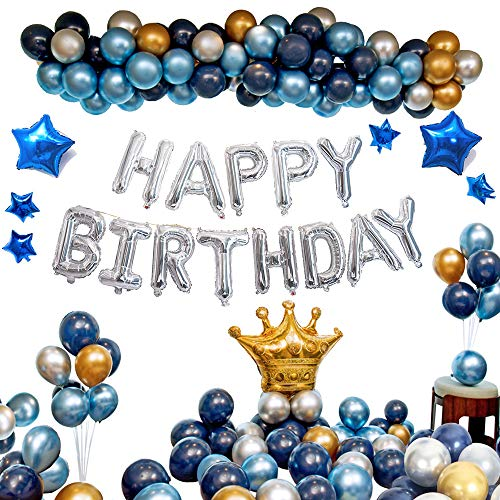 Ponmoo Blau Decoration Geburtstag Luftballons 112pcs, Silber Geburtstag Ballons, Luftballons Happy Birthday Geburtstagsdeko Kit, Geburtstag Deco Folienballon Party Dekoration