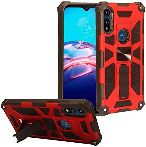 CELZEN for Motorola Moto E 2020 XT2052 Defender Phone Case w Stand ST6 Red product image