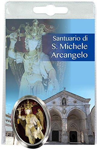 Ferrari & Arrighetti Imán San Miguel Arcángel (en Monte Sant'Angelo) de Metal niquelado con oración en Italiano (Paquete de 3 Piezas)