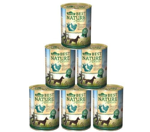 Dehner Best Nature Hundefutter Adult, Wild und Huhn mit Nudeln, 6 x 400 g (2.4 kg)
