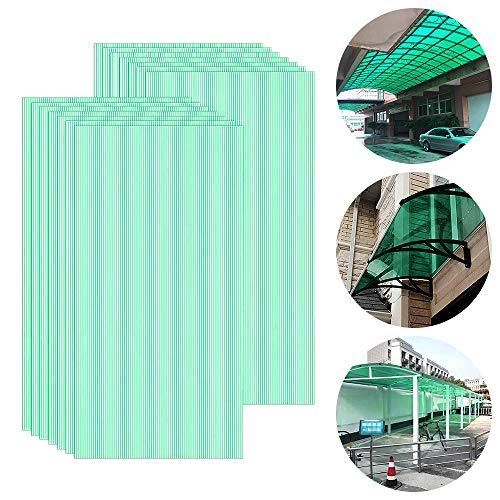 Froadp 14 Stück UV-beständigem Polycarbonat Hohlkammerstegplatten 700g/㎡ Doppelstegplatte Gewellte Gewächshausplatte für Garten Treibhaus(605x1210x4mm, Grün)