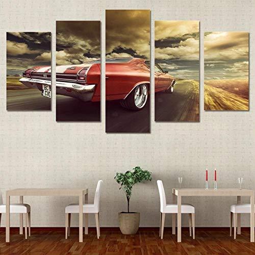 VYQDTNR HD de 5 Piezas con Múltiples Paneles Coche clásico Chevrolet Póster con Imagen Impresión en Lienzo Decoración Moderna para el Hogar y la Cocina Arte de la Pared, Enmarcado