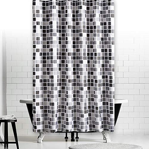 Alaine mozaïek patroon douchegordijn waterdichte schimmel gratis stof badkamer gordijn met haak - 200x220cm