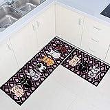 ZKZNsmrt Set of 2 Non-Slip Kitchen Rugs and mats Rubber Backing Doormat Runner Rugs (15'x47'+15'x23') (Cat)