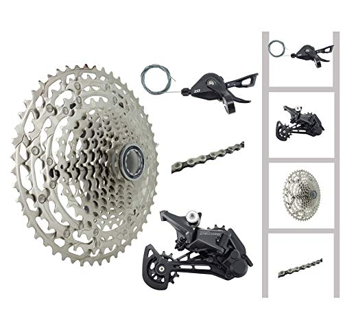 JGbike Compatible 12 Speed 4pc MTB groupset for Shimano Deore M6100,RD-M6100-SGS Rear Derailleur,SL-M6100-R Shifter,CS-M6100 Mirco Spline Cassette,CN-M6100 Chain