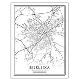 Bosnien-Herzegowina Schwarz Weiß Welt Stadtplan Poster