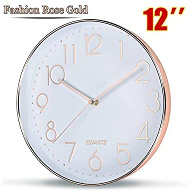 Rose Gold Wall Clock by SOULMATES-12 Inch Super Slim Frame-Non Ticking/Silent Sweep- With Gift Wrapped Package