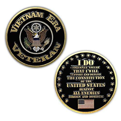 VetFriends.com Vietnam Era Veteran Challenge Coin with Eagle Insignia, American Flag,