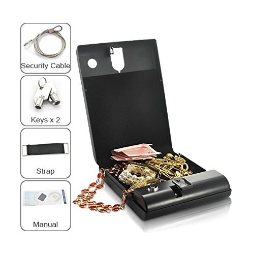 Cassaforte portatile biometrica con apertura con impronte digitali, per pistole e oggetti di valore