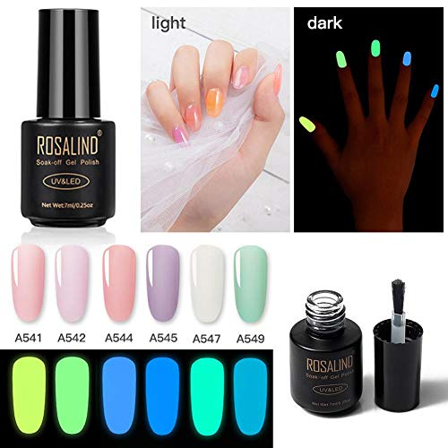 Fluoreszierender Gel-Nagellack, 6 Farben, nachleuchtend, ausgewählt, hell, Set Night Party Varnish Kit