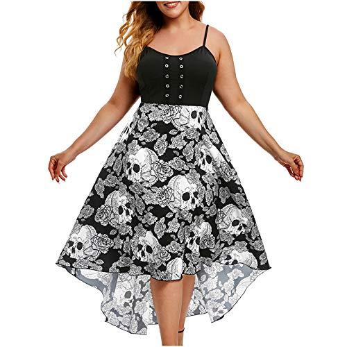 VEMOW Plus Size Elegante Damen Frauen Casual Kurzarm Kalt Schulter Boho Blumendruck Casual Täglichen Party Strand Langes Kleid Schulterfrei Strandkleid(X1-c-Schwarz, 48 DE/XXL CN)