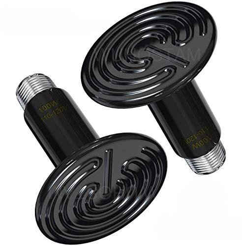 Wuhostam 2 Pack 100W Infrared Ceramic Heat Lamp,Black Reptile Emitter Bulb