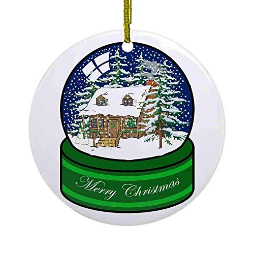 Lplpol Log Cabin Snow Globe Ornament, 3 Inch Ceramic Round/Circle Christmas Ornament, Xmas Tree Hanging Decoration Keepsake, Ideal, NI140