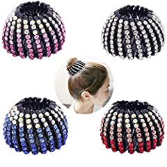 """Size approx.:2.6""""x 1.6"""" Extended length 5.5inch. Made of high quality plastic,durable for use. Expandable ponytailer Adjusts to all hair types and textures, for professional all day hold Rhinestone Bird Nest Hair Clip Use to secure buns or ponytails,..."""