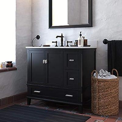 Dorel Living Otum 36 Inch Sink, Black Wood Bathroom Vanity