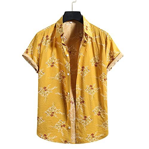 Shirt Playa Hombre Verano Moda Imprimir Hombre Shirt Cuello Kent Botón De Ajuste Regular Tapeta Manga Corta Hombre Shirt Ocio Personalidad Vacaciones Hawaii Hombre T-Shirt Q-017 XXL