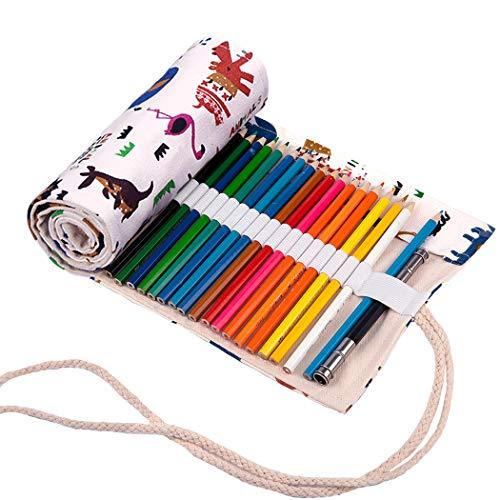 Abaría - Bolso para lápices, estuche enrollable para 48 lapices colores, portalápices de lona, bolsa organizador lápices para infantil adulto, patrón animal 48