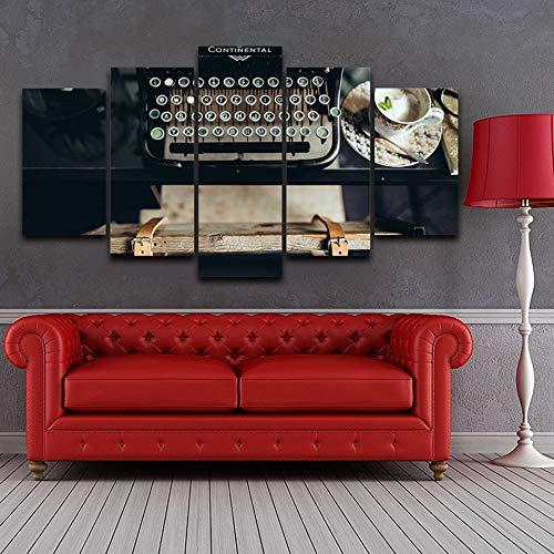 PUHAHA® 5 Pezzi Paintings Home Decor Tazza da caffè retrò macchina da scrivere 150x80cm Quadro di Arte Della Parete HD Stampe Su Tela Poster modulare Immagini HD Stampe Foto di Decorazioni Per La Casa