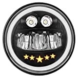 Zmoon 100W 7 inch Motorcycle Headlight with DRL Halo...