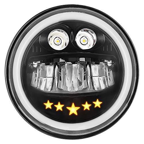 Zmoon 100W 7 inch Motorcycle Headlight with DRL Halo Ring DOT Approved Round LED Headlight for Harley Davidson Daymaker/Touring/Softail/Fat Boy/Street Glide/ etc. (1 Pack)