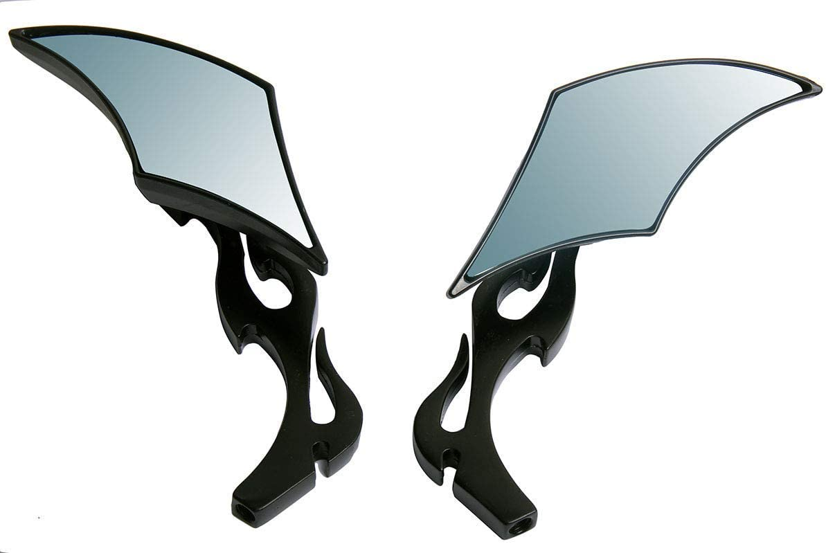 Black CNC Diamond Flame Motorcycle Small View 2 for Mirrors Max 62% Free shipping OFF Rear
