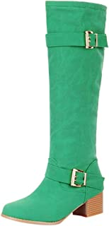 Women Suede Long Boots, Ladies Solid Round Toe Fashion Buckle Square Heel Knee High Tube Boots
