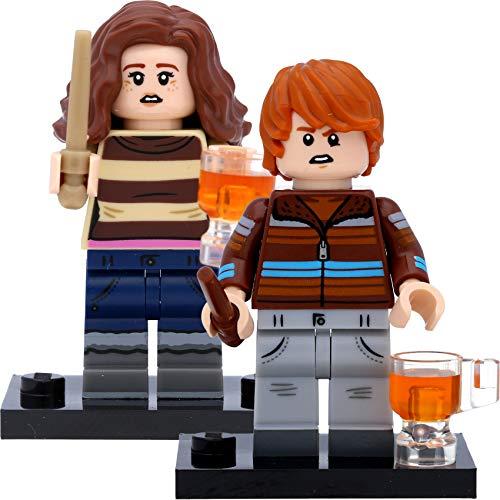 LEGO 71028 Harry Potter - Figuras de Hermione Granger (#3) y Ron Weasley (#4) con vasos de cerveza en caja de regalo
