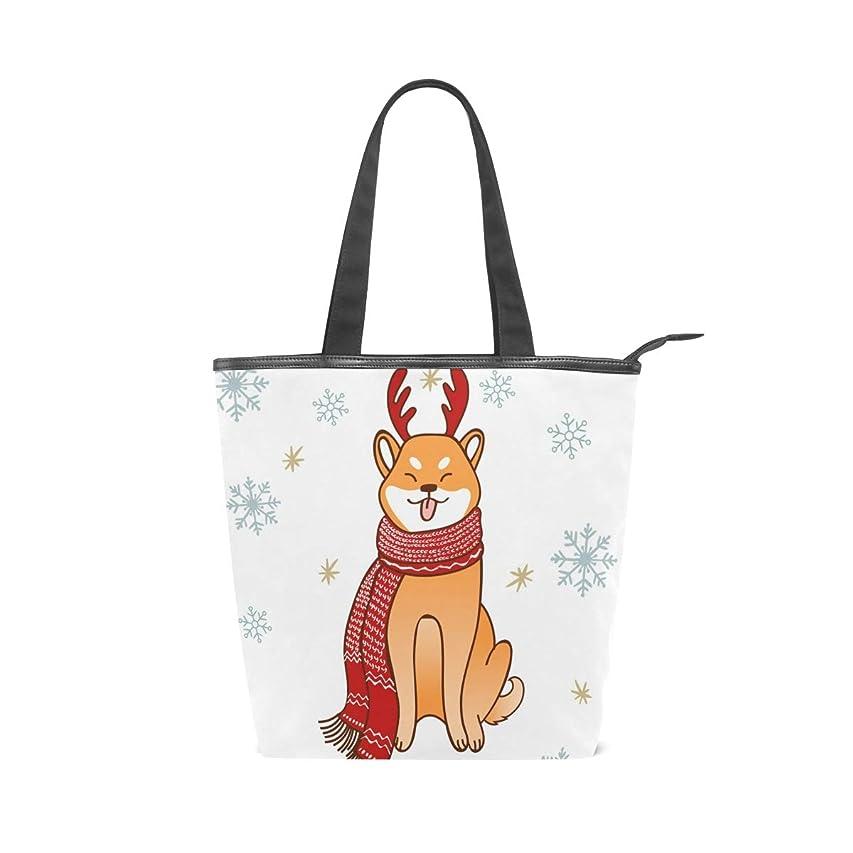 シーフードオーバーフロー浸したキャンバスバッグ トートバッグ ハンドバッグ 手提げ 柴犬柄 可愛い 冬の雪片 大容量 通勤通学 メンズ レディース