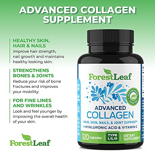 51GnBBfGZoS. SL500  - Advanced Collagen Supplement, Type 1, 2 and 3 with Hyaluronic Acid and Vitamin C - Anti Aging Joint Formula - Boosts Hair, Nails and Skin Health - 240 Capsules - by ForestLeaf