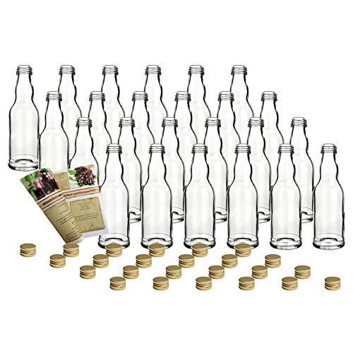 gouveo 24er Set Leere 200 ml Kropfhals Glasflaschen incl. Schraubverschluss Gold und 28-seitige Flaschendiscount-Rezeptbroschüre Likörflaschen Schnapsflaschen Essigflaschen Ölflaschen