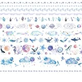 Feelairy Washi Tape Deco Set, 10 rollos de Washi Masking Tape Cinta decorativa Deco cintas Planet Stickers Autoadhesivo para envolver regalos Scrapbooking Manualidades de bricolaje