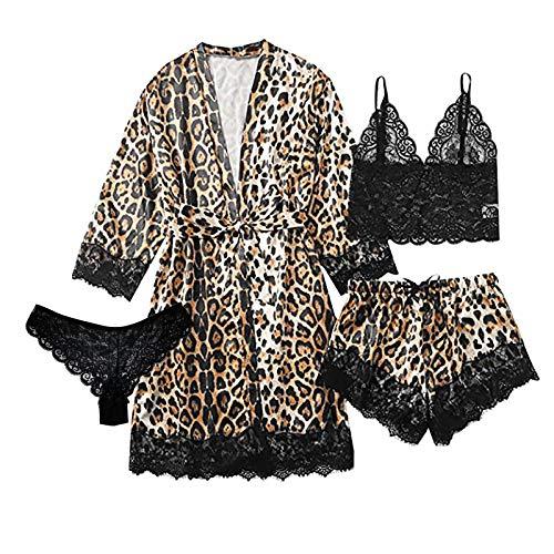 Conjunto Seda Bata Satén Pijama Encaje Estampado de Leopardo Tanga Set Bralette y Braguita Erótica para Mujer Mujeres Ropa Interior Conjunto 4pcs