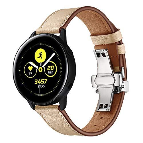 XZZTX Compatibel met voor Samsung Galaxy Watch Active Band, 20mm Quick Release Horlogeband Echt Lederen Vervanging Polsband voor Galaxy Watch Active