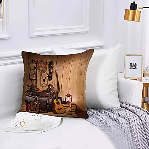 Cushion Cover Throw Pillow A Western Themed Layout Leaving Copy Space on The Right Hand Side Throw Pillow Covers Set 45x45 cm for Couch Chair Bedroom