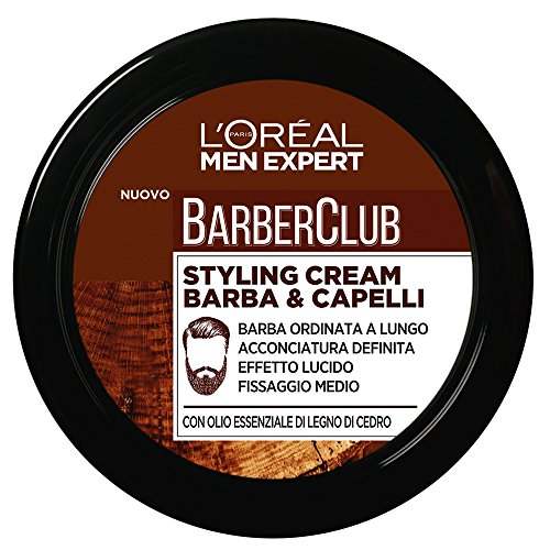 L'ORÉAL Paris Men Expert Barber Club Crema Modellante per Barba e Capelli, Styling Cream a Fissaggio Medio, 75 ml