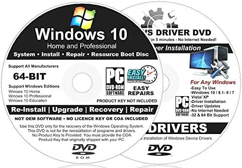 2 DISC Windows 10 64 BIT Home and Pro Install DVD For Fast Repair Recovery Restore Installations product image